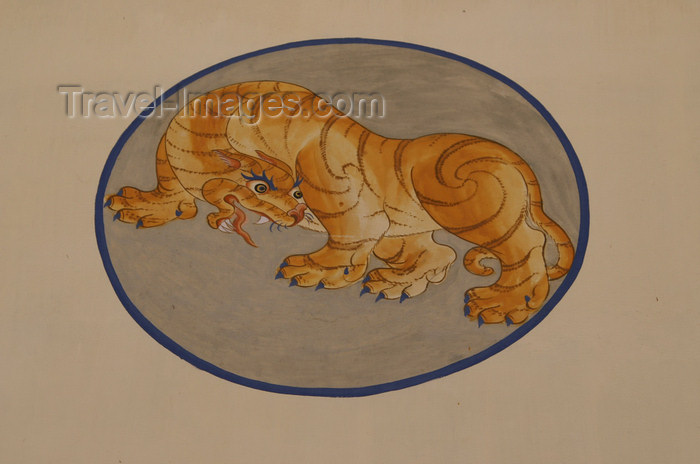 bhutan93: Bhutan - Paro: tiger - painting on the wall of a building - photo by A.Ferrari - (c) Travel-Images.com - Stock Photography agency - Image Bank