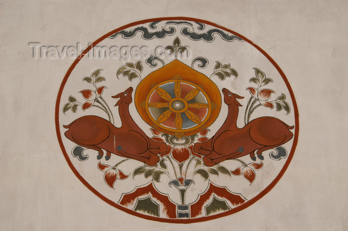 bhutan94: Bhutan - Paro: the Wheel of Law (khorlo) represents the propagation of the Buddha's teachings - painting on the wall of a building - photo by A.Ferrari - (c) Travel-Images.com - Stock Photography agency - Image Bank
