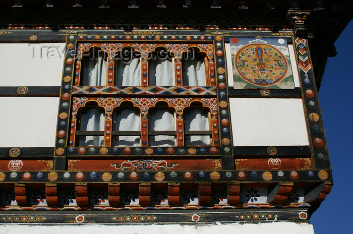 bhutan98: Bhutan - Paro: large window and wall paintings, inside the Gangtey palace - photo by A.Ferrari - (c) Travel-Images.com - Stock Photography agency - Image Bank