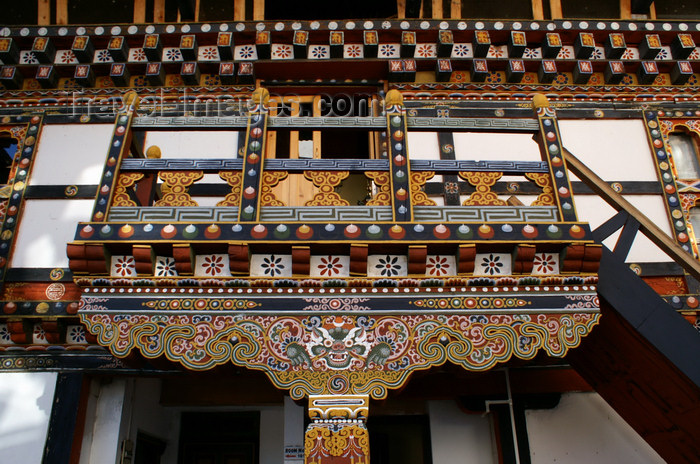 bhutan99: Bhutan - Paro: paintings - stairs - landing, inside the Gangtey palace - photo by A.Ferrari - (c) Travel-Images.com - Stock Photography agency - Image Bank