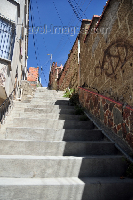 bolivia100: La Paz, Bolivia: stairs off Illimani avenue - photo by M.Torres - (c) Travel-Images.com - Stock Photography agency - Image Bank