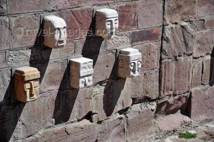 La paz bolivia carved stone heads of defeated enemies