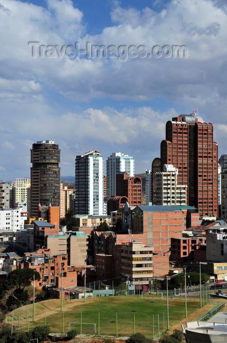 bolivia120: La Paz, Bolivia: soccer field and towers in Sopocachi - Av. Arce - Edificio Multicentro and Torre de las Americas - photo by M.Torres - (c) Travel-Images.com - Stock Photography agency - Image Bank