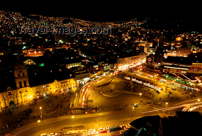 bolivia128: La Paz, Bolivia: night transforms the Prado and San Francisco Square into a magical world of glowing lights - photo by C.Lovell - (c) Travel-Images.com - Stock Photography agency - Image Bank