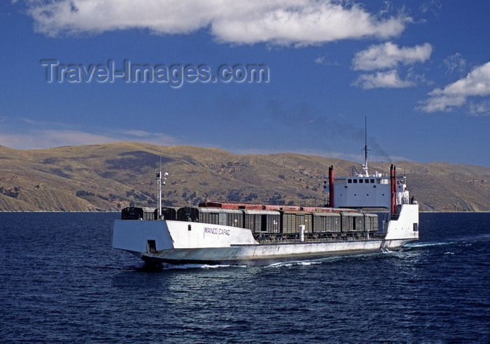 bolivia139: Lake Titicaca, Manco Kapac Province, La Paz Department, Bolivia: the Manco Capac is the largest freight liner on the lake - seen here carrying train cars - photo by C.Lovell - (c) Travel-Images.com - Stock Photography agency - Image Bank