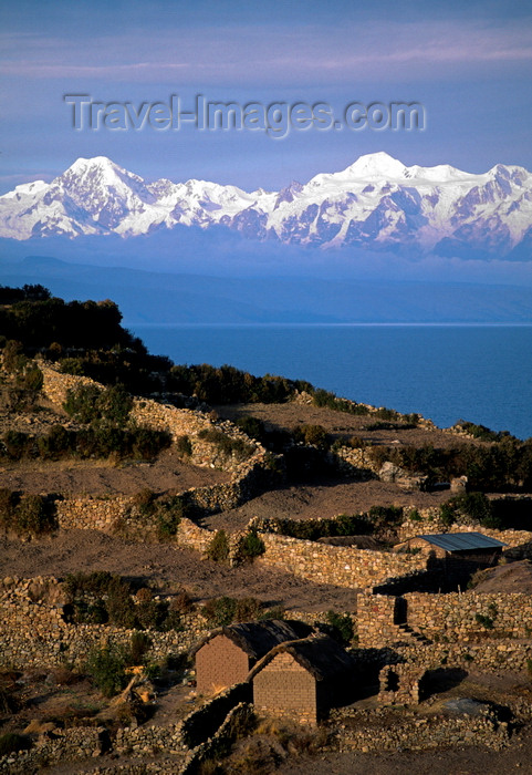 bolivia148: Isla del Sol, Lake Titicaca, Manco Kapac Province, La Paz Department, Bolivia: agricultural terraces - Nevado illampu (7010 m) is visible behind the village of Challapampa - photo by C.Lovell - (c) Travel-Images.com - Stock Photography agency - Image Bank