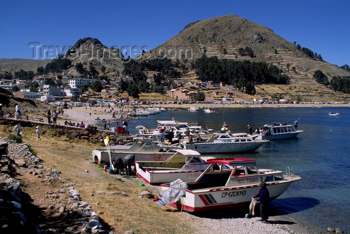 bolivia152: Copacabana, Manco Kapac Province, La Paz Department, Bolivia: Lake Titicaca - boats in the harbour and along the shore - photo by C.Lovell - (c) Travel-Images.com - Stock Photography agency - Image Bank