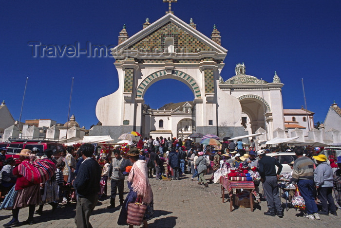 bolivia153: Copacabana, Manco Kapac Province, La Paz Department, Bolivia: people at the church of the Virgin during fiesta time - Basilica of Our Lady of Copacabana, the patron saint of Bolivia - photo by C.Lovell - (c) Travel-Images.com - Stock Photography agency - Image Bank
