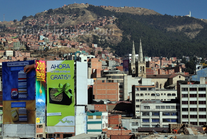 bolivia44: La Paz, Bolivia: city center, El Rosario, the northern suburbs and the woods of the Bosquecillo area - billboards and spires of La Recoleta Church - photo by M.Torres - (c) Travel-Images.com - Stock Photography agency - Image Bank