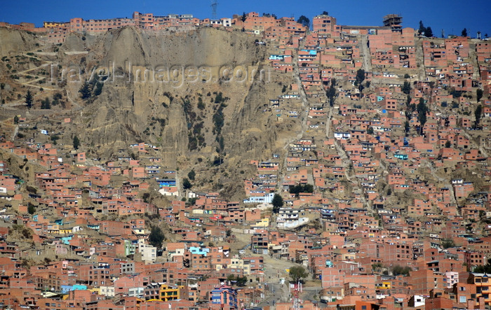 bolivia46: El Alto, La Paz department, Bolivia: cascade of brick and mud cubic dwellings on the western side of the canyon of the river Choqueyapu - rim of the Altiplano - photo by M.Torres - (c) Travel-Images.com - Stock Photography agency - Image Bank