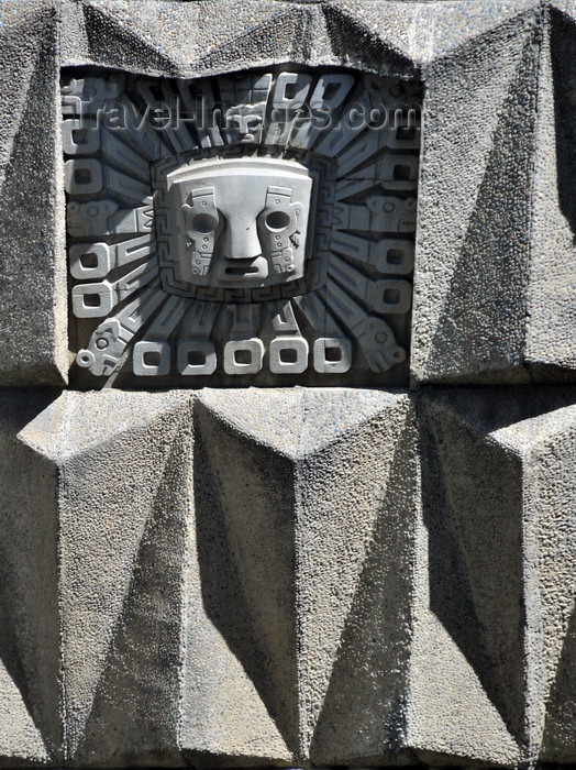 bolivia47: La Paz, Bolivia: geometry and indigenous decoration in concrete - architecture detail of the House of Culture - Casa de la Cultura Franz Tamayo, corner of Avenida Mariscal Santa Cruz and Calle Potosí - architects P.Steffens, C.Zumaran and R.Alcala - photo by M.Torres - (c) Travel-Images.com - Stock Photography agency - Image Bank
