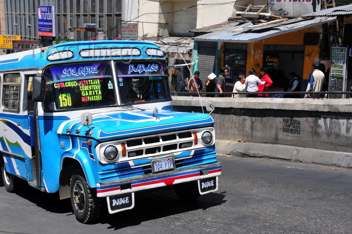 bolivia54: La Paz, Bolivia: Dodge micro-bus going along Calle Figueroa, near Porciuncula retirement home - photo by M.Torres - (c) Travel-Images.com - Stock Photography agency - Image Bank