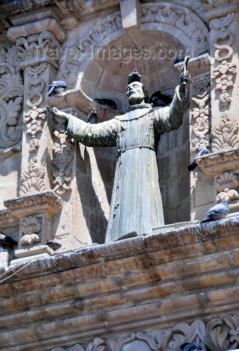 bolivia59: La Paz, Bolivia: Saint Francis of Assisi statue on the façade of the Iglesia de San Francisco - Mestizo Baroque decoration - photo by M.Torres - (c) Travel-Images.com - Stock Photography agency - Image Bank