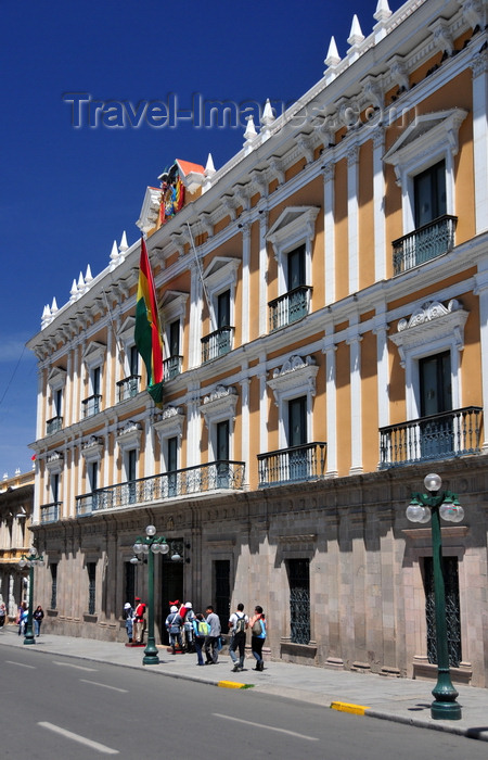bolivia76: La Paz, Bolivia: Palacio Quemado - Palacio de Gobierno - executive building burned almost to the ground during an uprising in the 1875, against the government of Tomás Frías - Plaza Murillo - photo by M.Torres - (c) Travel-Images.com - Stock Photography agency - Image Bank