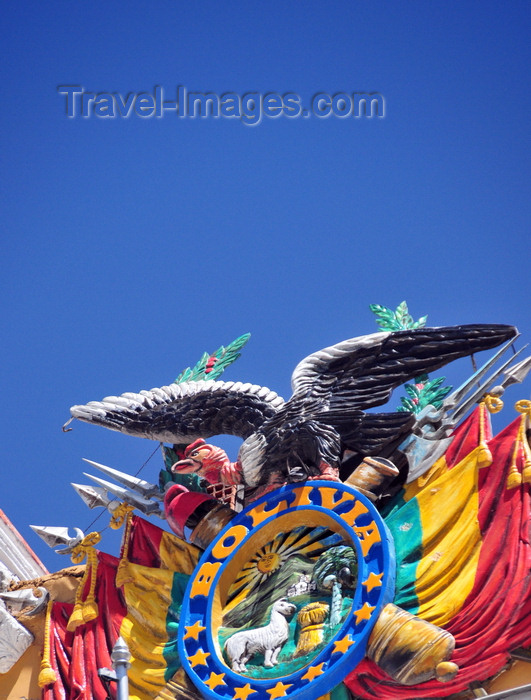 bolivia77: La Paz, Bolivia: Bolivian coat of arms atop the Presidential / Government palace - Palacio Quemado - Palacio de Gobierno - Plaza Murillo - photo by M.Torres - (c) Travel-Images.com - Stock Photography agency - Image Bank
