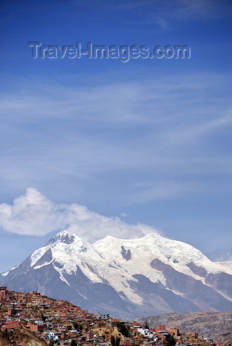 bolivia96: La Paz, Bolivia: Nevado Illimani, peak 6,438 metres, on mount llimani, Cordillera Real, Eastern range of the Andes - southern suburbs - photo by M.Torres - (c) Travel-Images.com - Stock Photography agency - Image Bank