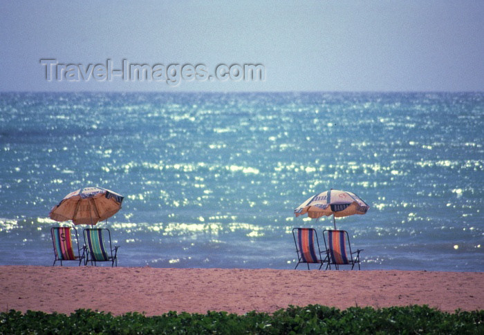 brazil108: Brazil / Brasil - Maceió  (Alagoas): the beach - late afternoon - chairs and parasols / a praia - fim de tarde - photo by F.Rigaud - (c) Travel-Images.com - Stock Photography agency - Image Bank