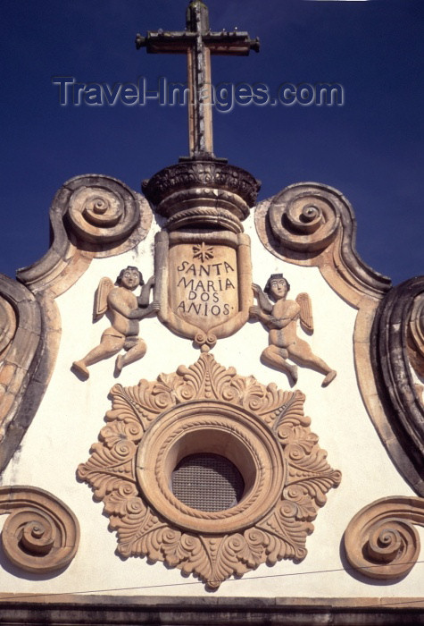 brazil118: Penedo,  Alagoas, Brazil / Brasil: church of St Mary - pediment detail / igreja de Santa Maria dos Anjos - frontão - photo by F.Rigaud - (c) Travel-Images.com - Stock Photography agency - Image Bank