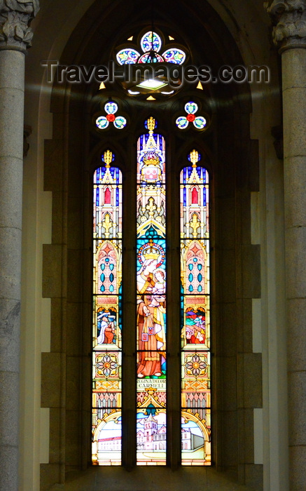 brazil139: São Paulo, Brazil: stained glass lancet window at the cathedral - Praça da Sé - Neo-Gothic style, designed in 1912 by the German architect Maximillian Hehl -  São Paulo See Metropolitan Cathedral - photo by M.Torres - (c) Travel-Images.com - Stock Photography agency - Image Bank