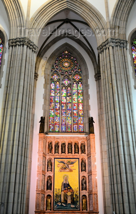 brazil140: São Paulo, Brazil: detail of the cathedral's transept with lancet window and mosaic displaying St Anne and Mary - Praça da Sé - Neo-Gothic style, designed in 1912 by the German architect Maximillian Hehl -  São Paulo See Metropolitan Cathedral - photo by M.Torres - (c) Travel-Images.com - Stock Photography agency - Image Bank