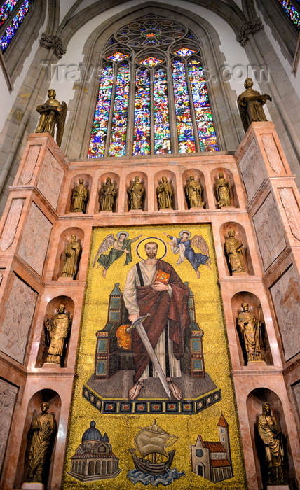 brazil141: São Paulo, Brazil: detail of the cathedral's transept - lancet window with stained glass and mosaic of Paul the Apostle made in Ravenna - Praça da Sé - Neo-Gothic style, designed in 1912 by the German architect Maximillian Hehl -  São Paulo See Metropolitan Cathedral - photo by M.Torres - (c) Travel-Images.com - Stock Photography agency - Image Bank