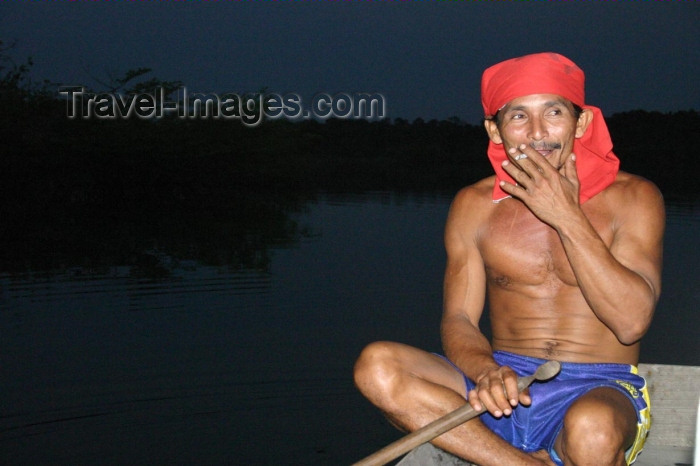 brazil174: Brazil / Brasil - Manaus: Urubu river: indian man - Aruaques (photo by N.Cabana) - (c) Travel-Images.com - Stock Photography agency - Image Bank