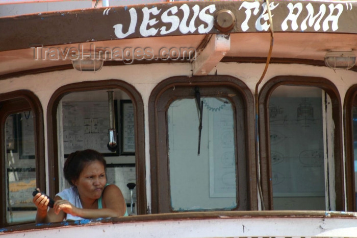 brazil176: Brazil / Brasil - Manaus: Jesus loves you - protection for a ferry / Jesus te Ama (photo by N.Cabana) - (c) Travel-Images.com - Stock Photography agency - Image Bank