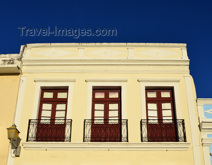 brazil185: Olinda, Pernambuco, Brazil: sunny colonial facade with very narrow balconies on Rua de São bento - photo by M.Torres - (c) Travel-Images.com - Stock Photography agency - Image Bank