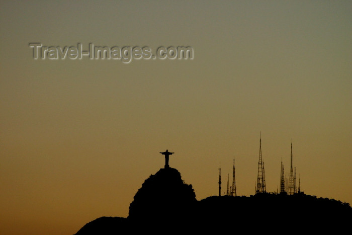 brazil191: Brazil / Brasil - Rio de Janeiro: Corcovado - Jesus and the antennas - silhouette - photo by N.Cabana - (c) Travel-Images.com - Stock Photography agency - Image Bank