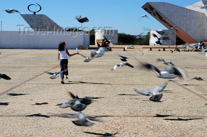 brazil338: Brazil / Brasil - Brasilia: chasing pigeons by the Pantheon - Praça dos Três Poderes - Three Powers Square - perseguindo pombos - photo by M.Alves - (c) Travel-Images.com - Stock Photography agency - Image Bank