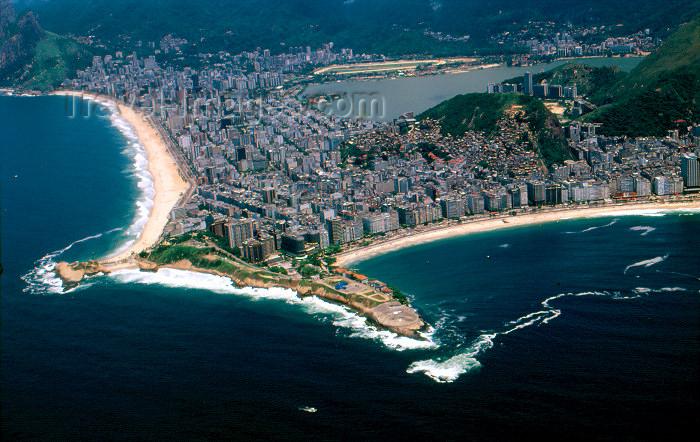brazil378: Brazil / Brasil - Rio de Janeiro: Copacabana and Ipanema beach from the air / praias de Copacabana e Ipanema, vista aérea - photo by Lewi Moraes - (c) Travel-Images.com - Stock Photography agency - Image Bank