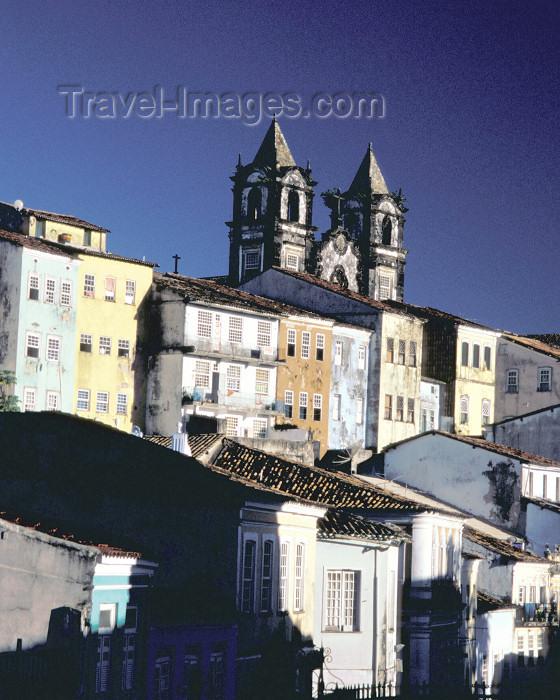brazil388: Brazil / Brasil - Salvador (Bahia): old houses and Nossa Senhora dos Passos church - casas e a igreja de Nossa Senhora dos Passos - photo by L.Moraes - (c) Travel-Images.com - Stock Photography agency - Image Bank