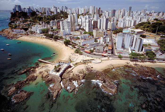 brazil390: Brazil / Brasil - Salvador (Bahia): from the air - the city and Santa Maria fort - vista a&#233;rea - a cidade e o forte de Santa Maria - photo by L.Moraes - (c) Travel-Images.com - Stock Photography agency - Image Bank