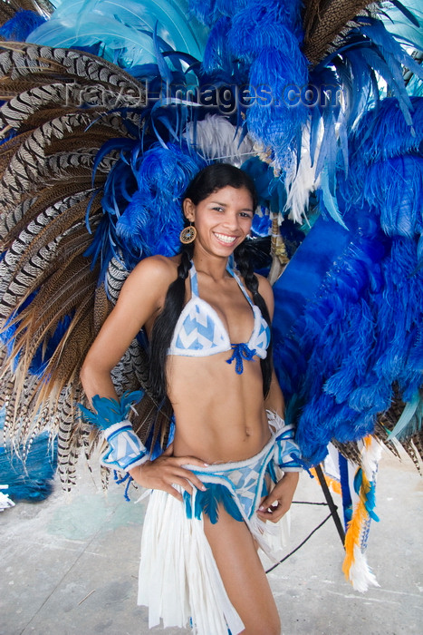 brazil433: Parintins, Amazonas, Brasil / Brazil: plumed dancer - the Cunhã Poranga, a tribal girl  - Boi-Bumbá folklore festival - Boi Caprichoso troupe / Festival Folclórico de Parintins - Bumba Meu Boi - photo by D.Smith - (c) Travel-Images.com - Stock Photography agency - Image Bank