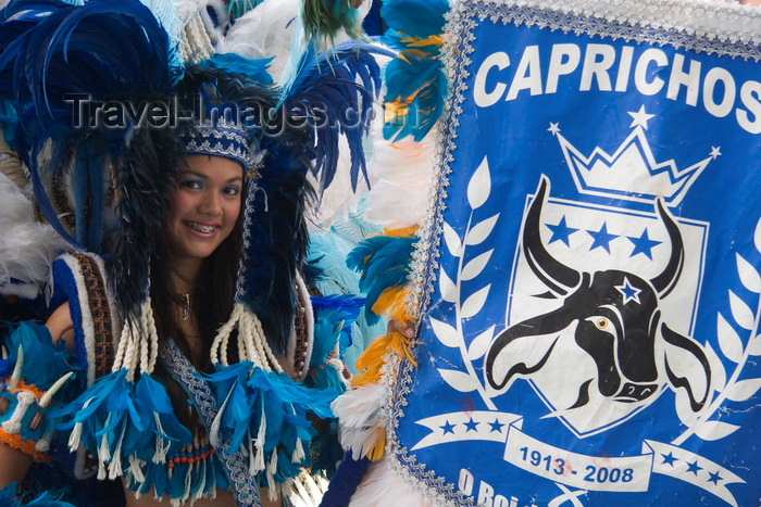 brazil439: Parintins, Amazonas, Brasil / Brazil: flag bearer - Boi-Bumbá folklore festival - Boi Caprichoso troupe / Porta-Estandarte - Festival Folclórico de Parintins - Bumba Meu Boi - photo by D.Smith - (c) Travel-Images.com - Stock Photography agency - Image Bank