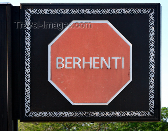 brunei58: Bandar Seri Begawan, Brunei Darussalam: stop sign in Malay with ornate frame - 'Berhenti - photo by M.Torres - (c) Travel-Images.com - Stock Photography agency - Image Bank