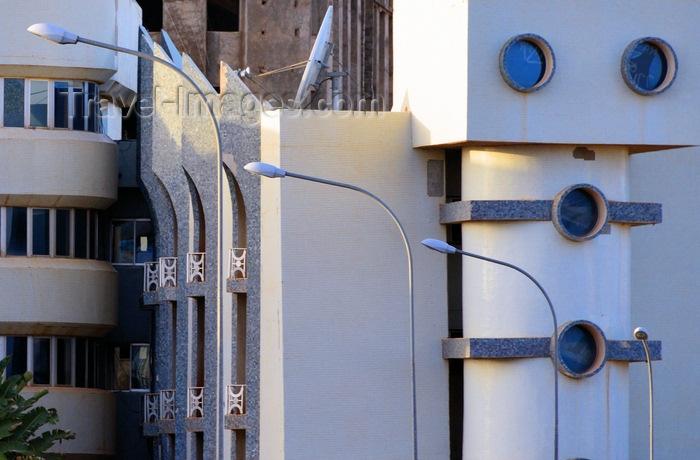 burkina-faso66: Ouagadougou, Burkina Faso: unusual façade of the BCB bank building (Banque Commerciale du Burkina), once a tool of Muammar Gaddafi - photo by M.Torres - (c) Travel-Images.com - Stock Photography agency - Image Bank