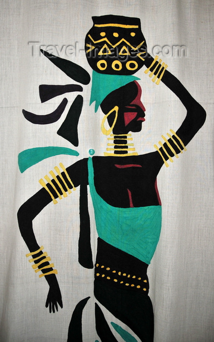 burundi44: Bujumbura, Burundi: curtain with African woman - Burundian art at Hotel Club du Lac Tanganyika - photo by M.Torres - (c) Travel-Images.com - Stock Photography agency - Image Bank