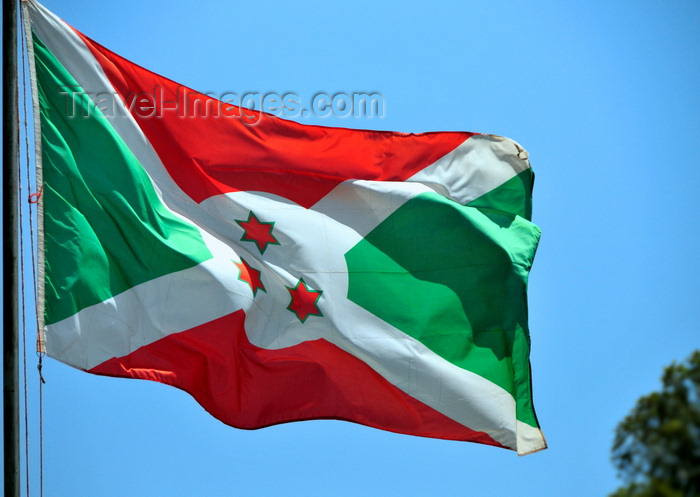 burundi67: Gitega / Kitega, Burundi: Burundian flag - Saint Andrew's Cross and three stars of David, representing the words in the national motto 'Unité, Travail, Progrès' - photo by M.Torres - (c) Travel-Images.com - Stock Photography agency - Image Bank