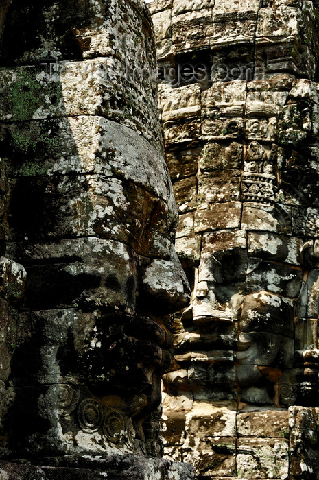 cambodia132: Angkor, Cambodia: Bayon - heads - Angkor Thom - photo by J.Hernández - (c) Travel-Images.com - Stock Photography agency - Image Bank