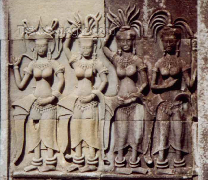 cambodia37: Angkor, Cambodia / Cambodge: meet the Apsaras - Devatas - heavenly nymphs - photo by M.Torres - (c) Travel-Images.com - Stock Photography agency - Image Bank