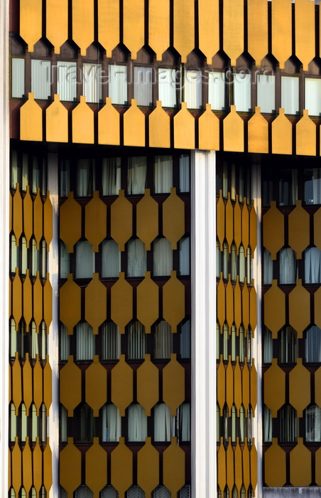 cameroon1: Cameroon, Douala: office tower - facade with a pattern of golden panels - BICEC bank building - Banque International du Cameroun pour l'Epargne et le Crédit - photo by M.Torres - (c) Travel-Images.com - Stock Photography agency - Image Bank