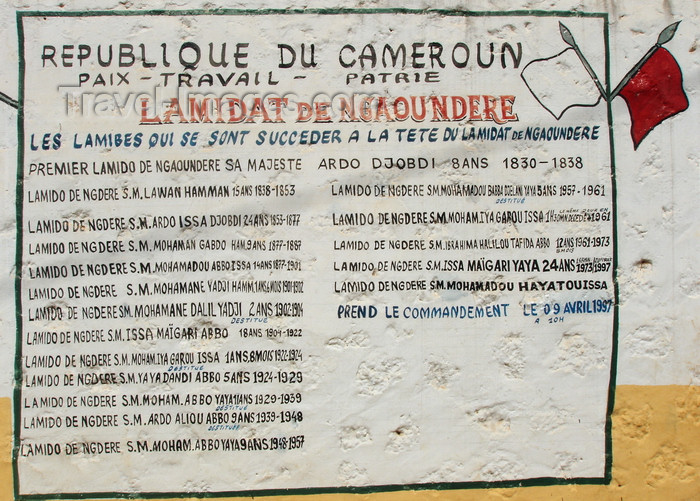 cameroon37: N'Gaoundéré, Cameroon:  list of the 18 Lamidos who have reigned in N'Gaoundéré since 1830 - photo by B.Cloutier - (c) Travel-Images.com - Stock Photography agency - Image Bank