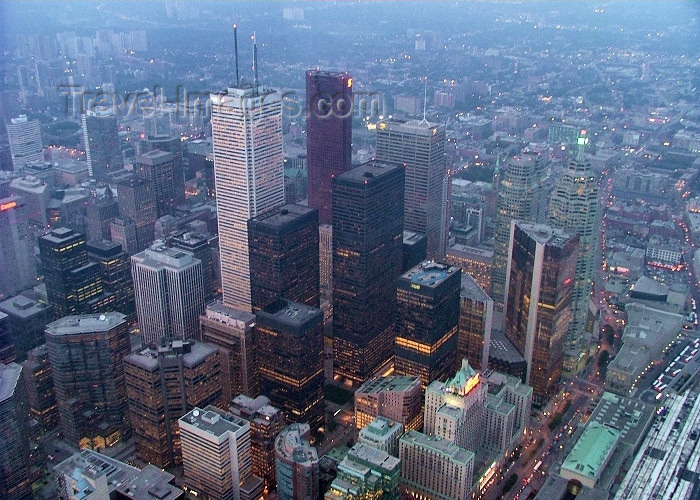 canada264: Toronto, Ontario, Canada / Kanada: skyscrapers - Financial district seen from the CN tower - First Canadian Place, by Bregman + Hamann Architects, stands out - photo by R.Grove - (c) Travel-Images.com - Stock Photography agency - Image Bank