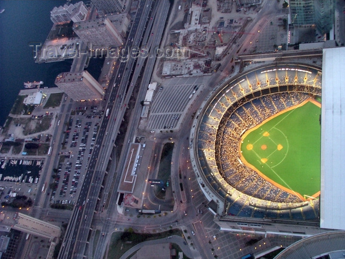 canada267: Toronto, Ontario, Canada / Kanada: baseball game at the Rogers Centre / Skydome - view from CN Tower - photo by R.Grove - (c) Travel-Images.com - Stock Photography agency - Image Bank