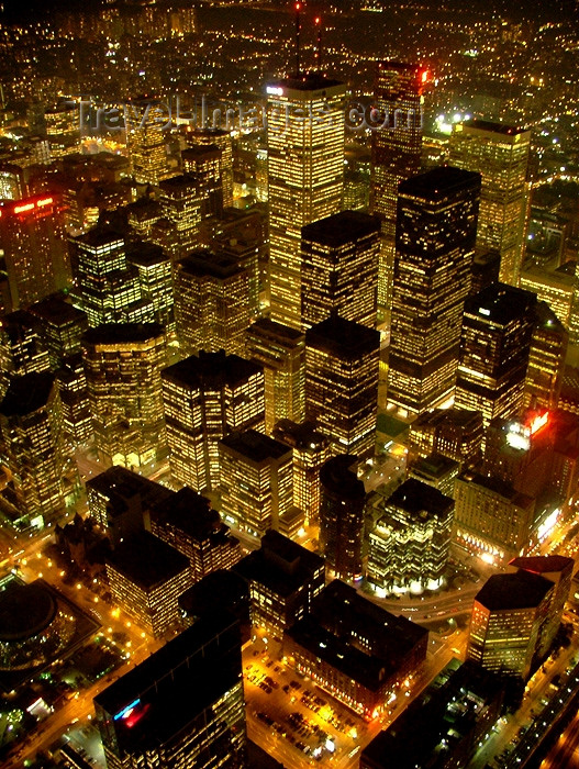 canada275: Toronto, Ontario, Canada / Kanada: skyscrapers - Financial district - nocturnal photo - photo by R.Grove - (c) Travel-Images.com - Stock Photography agency - Image Bank