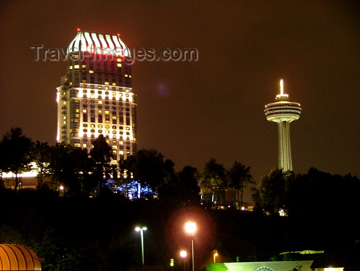 canada276: Niagara Falls, Ontario, Canada / Kanada: Niagara Fallsview Casino Resort and Skylon tower - nocturnal skyline - photo by R.Grove - (c) Travel-Images.com - Stock Photography agency - Image Bank
