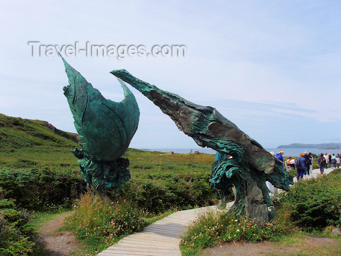 canada330: Canada / Kanada - Newfoundland / Terre-Neuve / Terra Nova - Anse-aux-Meadows - Great Northern Peninsula: sculpture over the pathway from the museum to the archaeological site, symbolises the closing of the circle of mankind's expansion around the planet - photo by B.Cloutier - (c) Travel-Images.com - Stock Photography agency - Image Bank