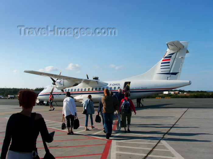 canada340: Canada / Kanada - St. John's, Newfoundland: at the airport - passengers board an Air St.Pierre Aerospatiale/Alenia ATR 42-320 F-OHLG cn323, the Albert Briand - photo by B.Cloutier - (c) Travel-Images.com - Stock Photography agency - Image Bank