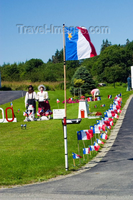 canada354: Scenic view Acadian flags during the 400th anniversary of the landing of the French in North America in Acadian region near Pubnico in western Nova Scotia, Canada - photo by D.Smith - (c) Travel-Images.com - Stock Photography agency - Image Bank